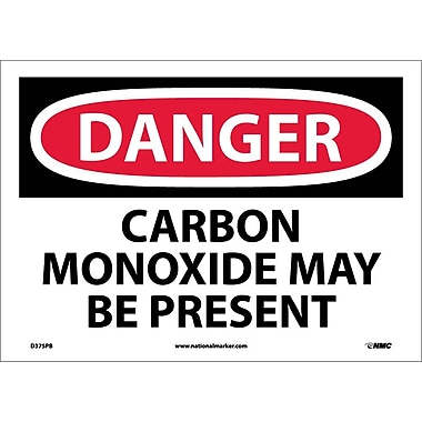 Danger, Carbon Monoxide May Be Present, 10X14, Adhesive Vinyl