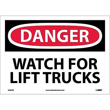 Danger, Watch For Lift Trucks, 10X14, Adhesive Vinyl