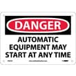 Danger, Automatic Equipment May Start At Anytime, 7X10, Rigid Plastic