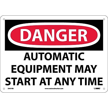 Danger, Automatic Equipment May Start At Anytime, 10X14, Rigid Plastic
