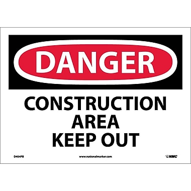 Danger, Construction Area Keep Out, 10X14, Adhesive Vinyl