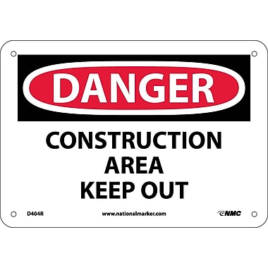 Danger, Construction Area Keep Out, 7X10, Rigid Plastic