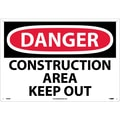 Danger, Construction Area Keep Out, 14X20, Rigid Plastic