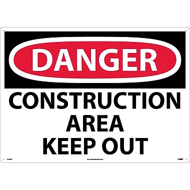 Danger, Construction Area Keep Out, 20X28, Rigid Plastic