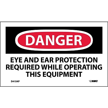 Labels - Danger, Eye And Ear Protection Required . . ., 3X5, Adhesive Vinyl, 5/Pk