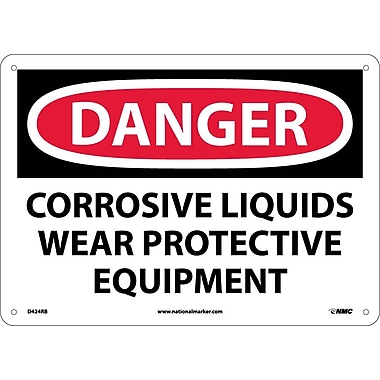 Danger, Corrosive Liquids Wear Protective Equipment, 10X14, Rigid Plastic
