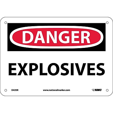 Danger, Explosives, 7X10, Rigid Plastic