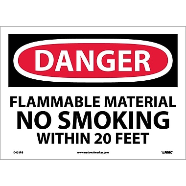 Danger, Flammable Material No Smoking Within. . ., 10X14, Adhesive Vinyl