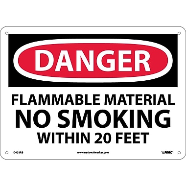 Danger, Flammable Material No Smoking Within. . ., 10X14, Rigid Plastic