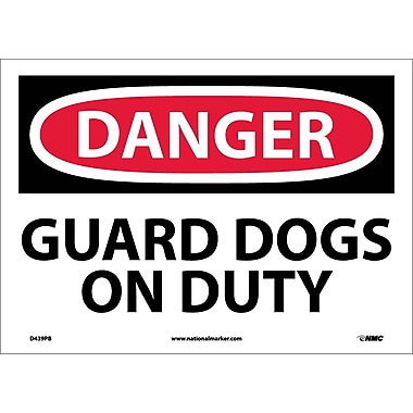 Danger, Guard Dogs On Duty, 10X14, Adhesive Vinyl