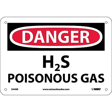 Danger, H2S Poisonous Gas, 7X10, Rigid Plastic