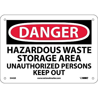 Danger, Hazardous Waste Storage Area Unauthorized. . ., 7X10, Rigid Plastic