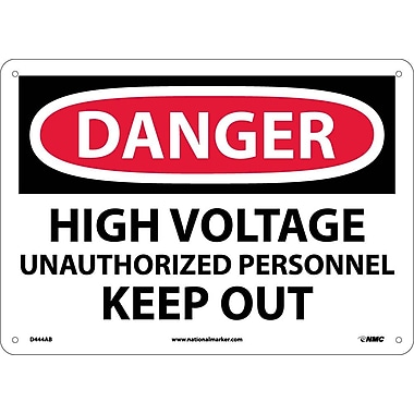 Danger, High Voltage Unauthorized Personnel Keep. . ., 10X14, .040 Aluminum