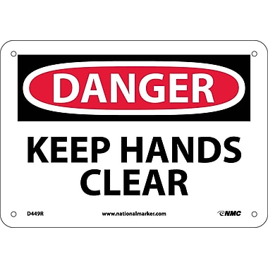 Danger, Keep Hands Clear, 7X10, Rigid Plastic