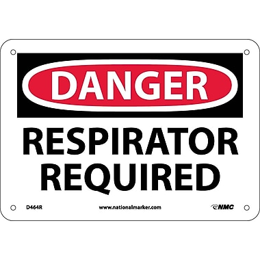 Danger, Respirator Required, 7X10, Rigid Plastic