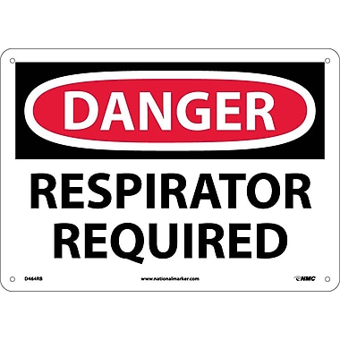 Danger, Respirator Required, 10X14, Rigid Plastic