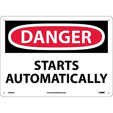 Danger, Starts Automatically, 10X14, .040 Aluminum
