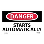 Labels - Danger, Starts Automatically, 3X5, Adhesive Vinyl, 5/Pk