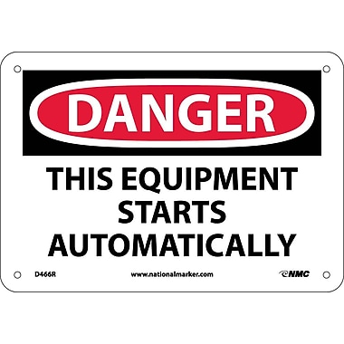 Danger, This Equipment Starts Automatically, 7X10, Rigid Plastic