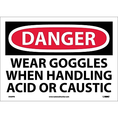 Danger, Wear Goggles When Handling Acid Or. . ., 10X14, Adhesive Vinyl