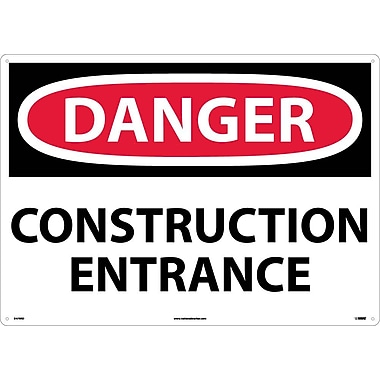 Danger, Construction Entrance, 20X28, Rigid Plastic