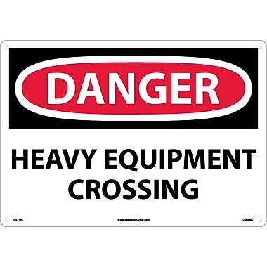 Danger, Heavy Equipment Crossing, 14X20, Rigid Plastic