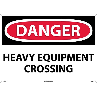 Danger, Heavy Equipment Crossing, 20X28, Rigid Plastic