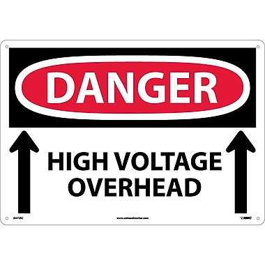 Danger, High Voltage Overhead Up Arrows, 14