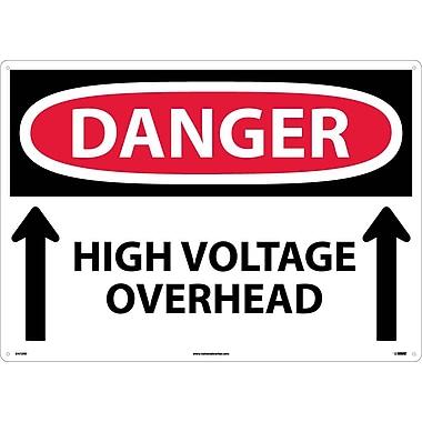 Danger, High Voltage Overhead (Up Arrows), 20X28, Rigid Plastic