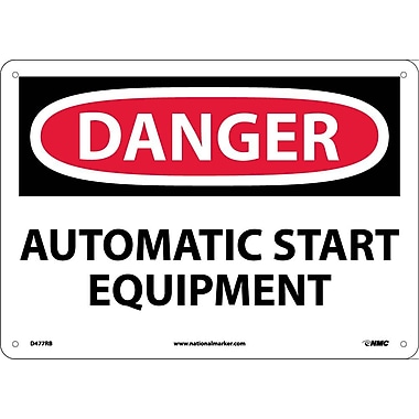Danger, Automatic Start Equipment, 10X14, Rigid Plastic