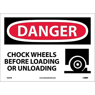 Danger, Chock Wheels Before Loading Or Unloading, Graphic, 10X14, Adhesive Vinyl