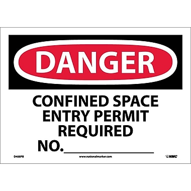 Danger, Confined Space Entry Permit Required No., 10X14, Adhesive Vinyl