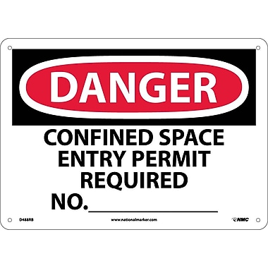 Danger, Confined Space Entry Permit Required No., 10X14, Rigid Plastic