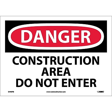 Danger, Construction Area Do Not Enter, 10X14, Adhesive Vinyl