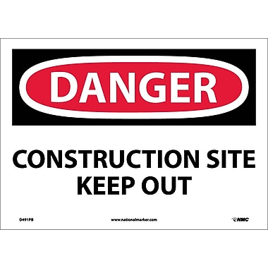 Danger, Construction Site Keep Out, 10X14, Adhesive Vinyl
