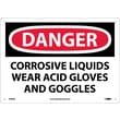 Danger, Corrosive Liquids Wear Acid Gloves And Goggles, 10X14, Rigid Plastic