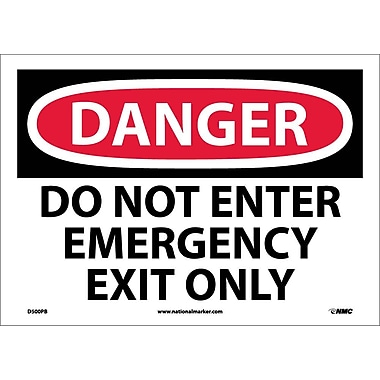 Danger, Do Not Enter Emergency Exit Only, 10X14, Adhesive Vinyl