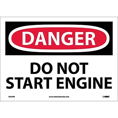 Danger, Do Not Start Engine, 10X14, Adhesive Vinyl