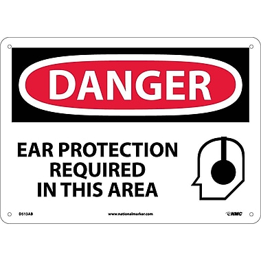 Danger, Ear Protection Required In This Area, Graphic, 10X14, .040 Aluminum
