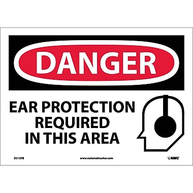 Danger, Ear Protection Required In This Area, Graphic, 10X14, Adhesive Vinyl