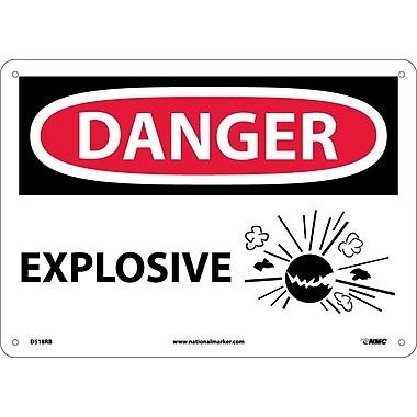 Danger, Explosive, Graphic, 10X14, Rigid Plastic