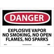 Danger, Explosive Vapor No Smoking No Open Flames No Sparks, 10X14, Adhesive Vinyl