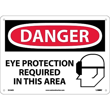 Danger, Eye Protection Required In This Area, Graphic, 10X14, Fiberglass