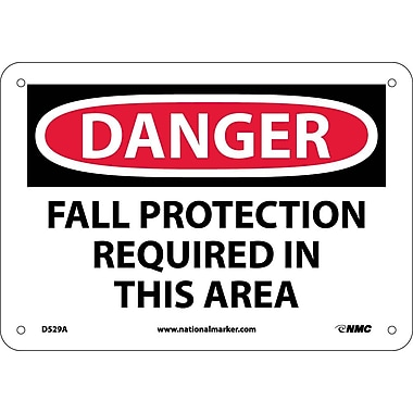 Danger, Fall Protection Required In This Area, 7X10, .040 Aluminum