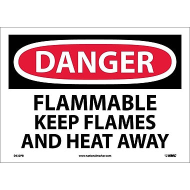 Danger, Flammable Keep Flames And Heat Away, 10X14, Adhesive Vinyl
