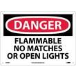 Danger, Flammable No Matches Or Open Lights, 10X14, Rigid Plastic