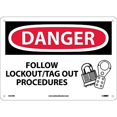 Danger, Follow Lockout Tag Out Procedures, Graphic, 10X14, Rigid Plastic