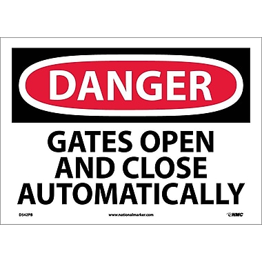 Danger, Gates Open And Close Automatically, 10X14, Adhesive Vinyl