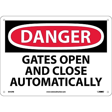 Danger, Gates Open And Close Automatically, 10X14, Rigid Plastic