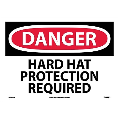 Danger, Hard Hat Protection Required, 10X14, Adhesive Vinyl